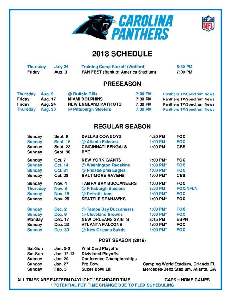 2019 Carolina Panthers Schedule 2018 2019 Schedule – RVA Roaring Riot